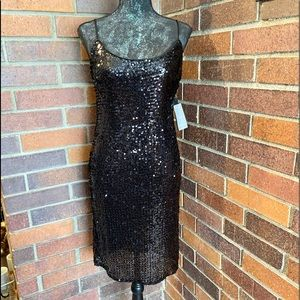 Bebe Sequin Slip Dress in Black